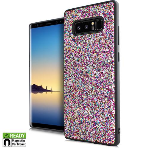 MUNDAZE Rainbow Confetti Chunky Glitter Magnetic Ready Case For Samsung Note 8 Phone
