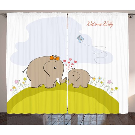 Nursery Curtains 2 Panels Set Baby Shower Inspired With Mother Elephant Love Children
