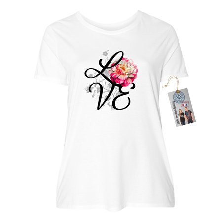 Love Flower Rose Summer Plus Size Womens Crewneck Shirt