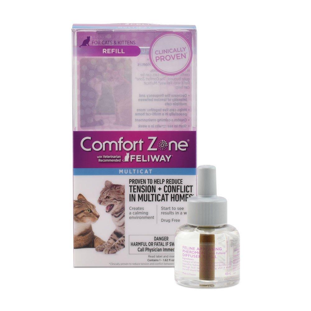 Comfort Zone Multicat Diffuser Refill, 1 Pack, For Cat Calming, Mimics cat pheromone that helps create a cat calming environment