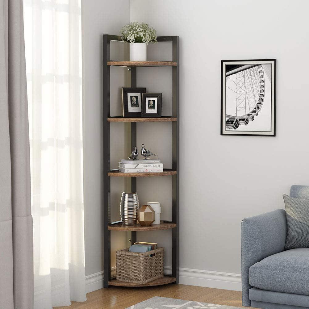 Little Tree 5 Tier Corner Shelf Rustic, Bookcase Cabinets Living Room