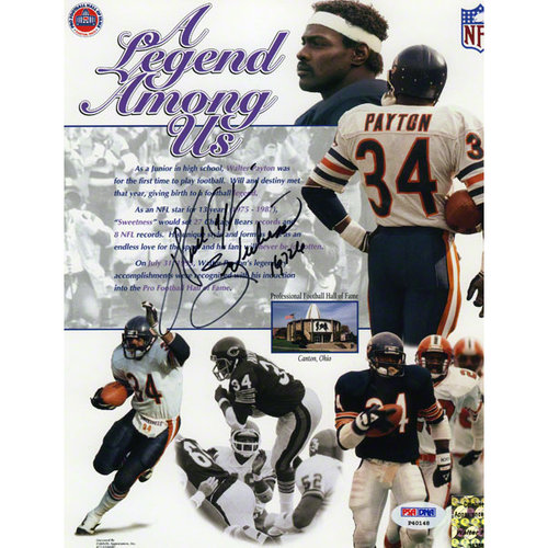 """NFL - Walter Payton Autographed 8x10 Photograph   Details: Chicago Bears, Legend Among Us, with """"Sweetness 16726"""" Inscription"""