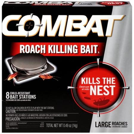 Combat Roach Killing Bait, Large Roach Bait Station, Kills the Nest, Child-Resistant, 8 Count Roach Bait Stations
