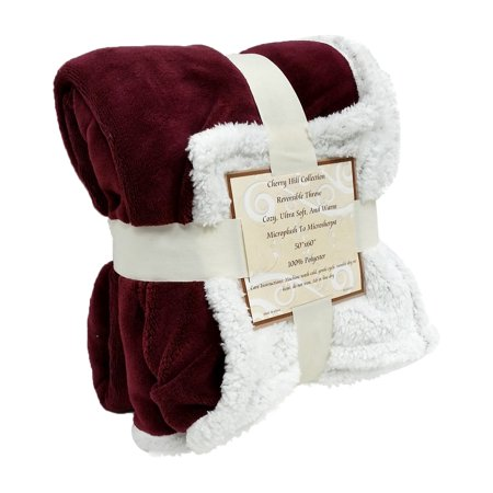 Reversible Sherpa  Microplush Throw Blanket  50  X 60    Multiple Colors