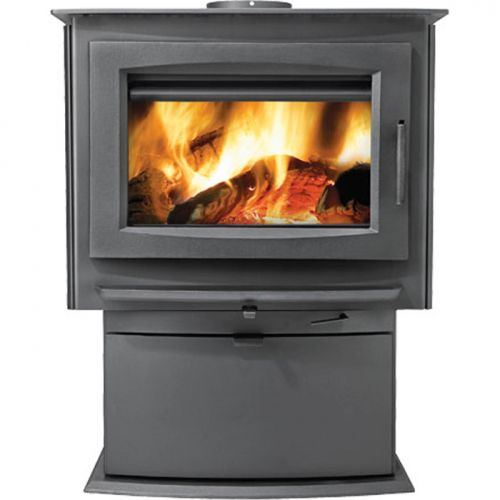 Medium Wood Stove Conjunction with Pedestal - Metallic Charcoal