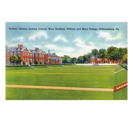 Williamsburg, VA, William and Mary College View of the Sunken Garden, Wren Building Print Wall Art By Lantern