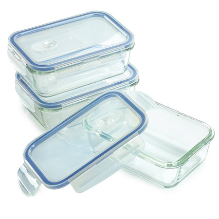 3 Pack - Glass Meal Prep Containers for Food Storage w/ Snap Locking Lids Airtight & Leak Proof - BPA Free - Oven, Dishwasher, Microwave, Freezer Safe - Odor and Stain Resistant USDA Food Grade Glass