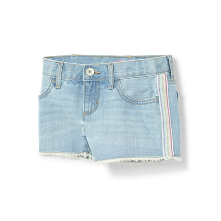 Grey Stripe Short (The Children'S Place Rainbow Side Stripe Distressed Denim Short (Big Girls))