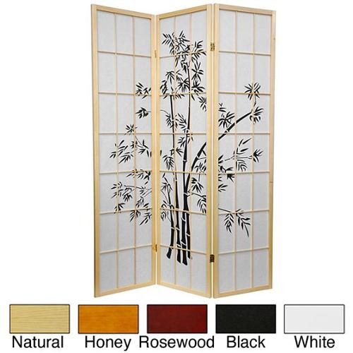 Wood and Rice Paper 6-foot Lucky Bamboo Room Divider (China) Honey - 3 Panel
