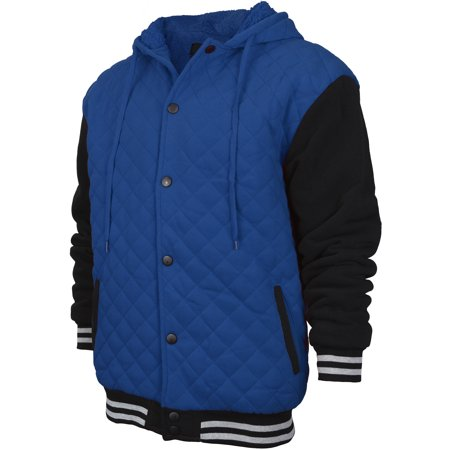 Men's Heavyweight Quilted Snap Button Sherpa Lined Varsity Jacket Hoodie (XL, Royal Blue Black)