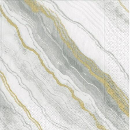 Paper Cocktail Napkins 20pk Marble Grey