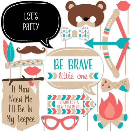 Be Brave Little One - Boho Tribal Baby Shower or Birthday Party Photo Booth Props Kit - 20 Count](Boho Birthday Party)