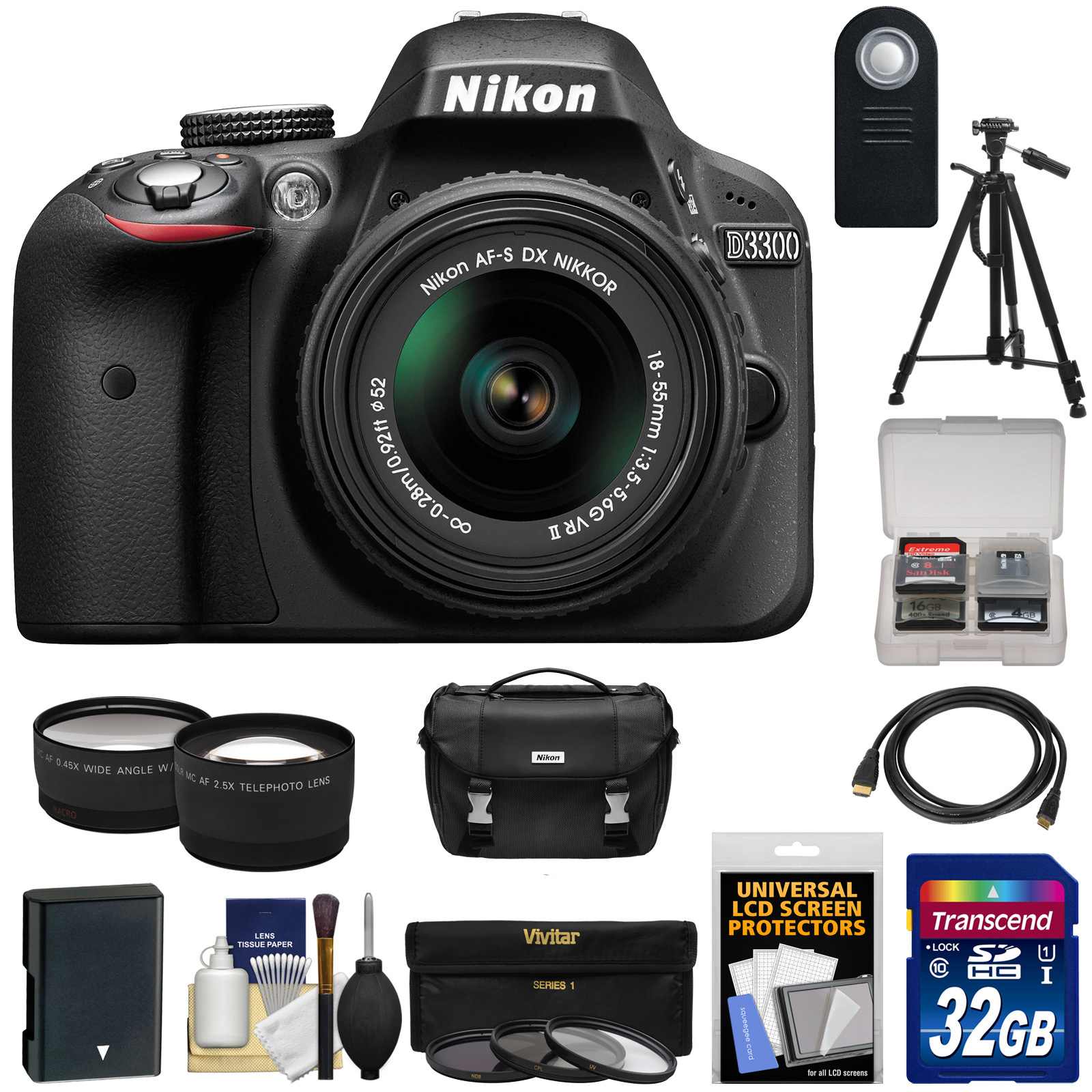 Nikon D3300 Digital SLR Camera & 18-55mm G VR DX II AF-S Zoom Lens (Black) with 32GB Card + Battery + Case + Tripod + Tele/Wide Lens Kit