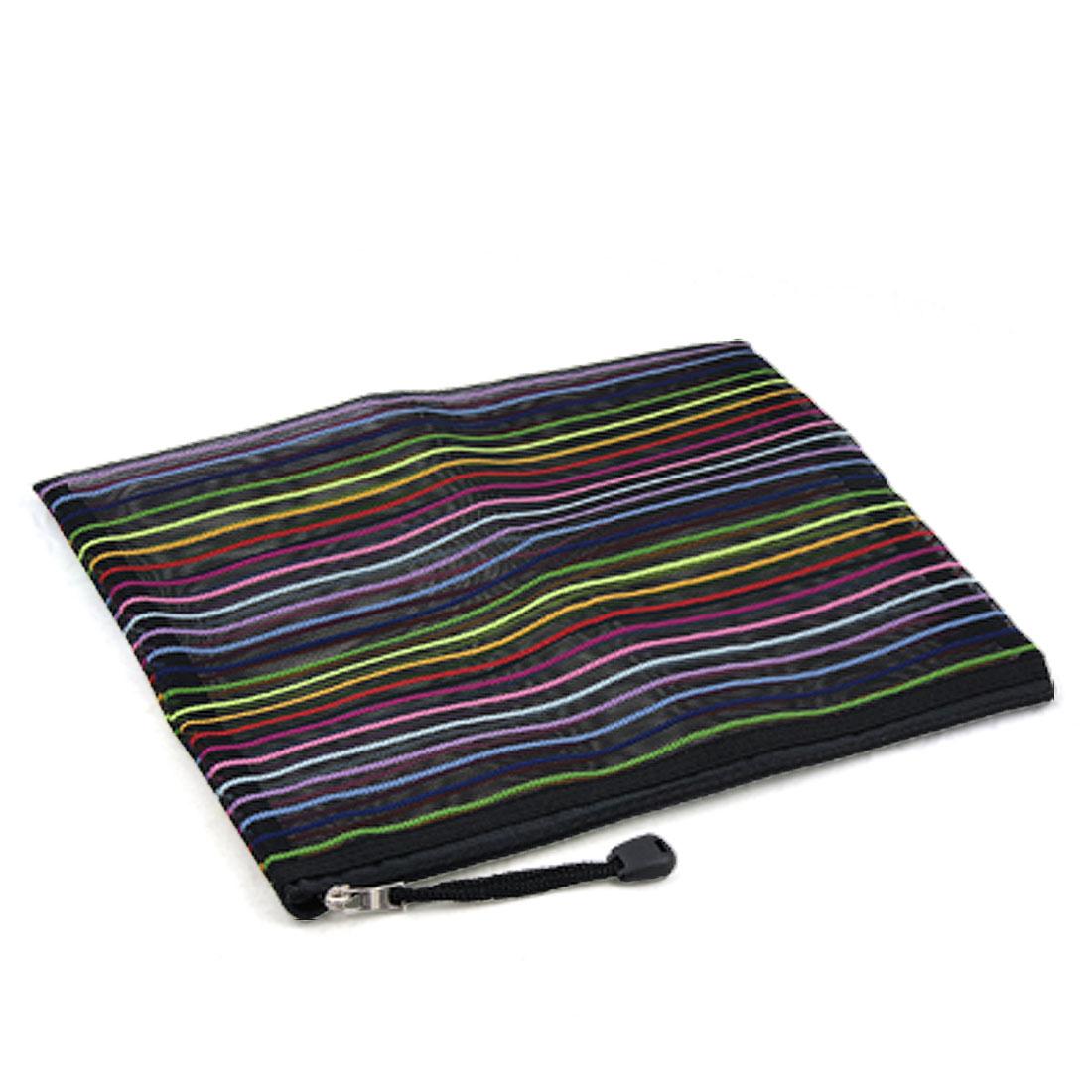 Unique Bargains Zipper Closure Colors Stripes Blk Mesh Design File Bag