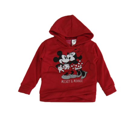 Disney Little Girls Red Minnie Mouse Long Sleeve Hoodie
