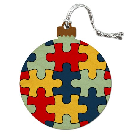 Autism Awareness Diversity Puzzle Pieces Wood Christmas Tree Holiday Ornament - Puzzle Piece Ornaments