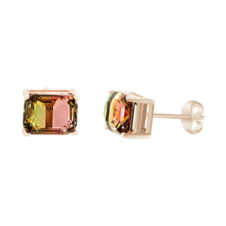 Emerald Cut Simulated Watermelon Cubic Zirconia Post Earring in Rose Gold over Sterling Silver