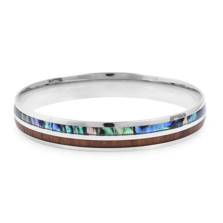 Stainless Steel Wood Abalone Shell Bangle Cuff Bracelet Costume Promise Stylish Elegant Jewelry for Women Size 8