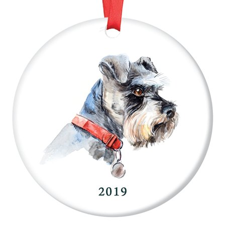 Schnauzer Christmas Ornament 2019, Porcelain Ceramic Dog Ornament, Watercolor Miniature Schnauzer Family Dog 3