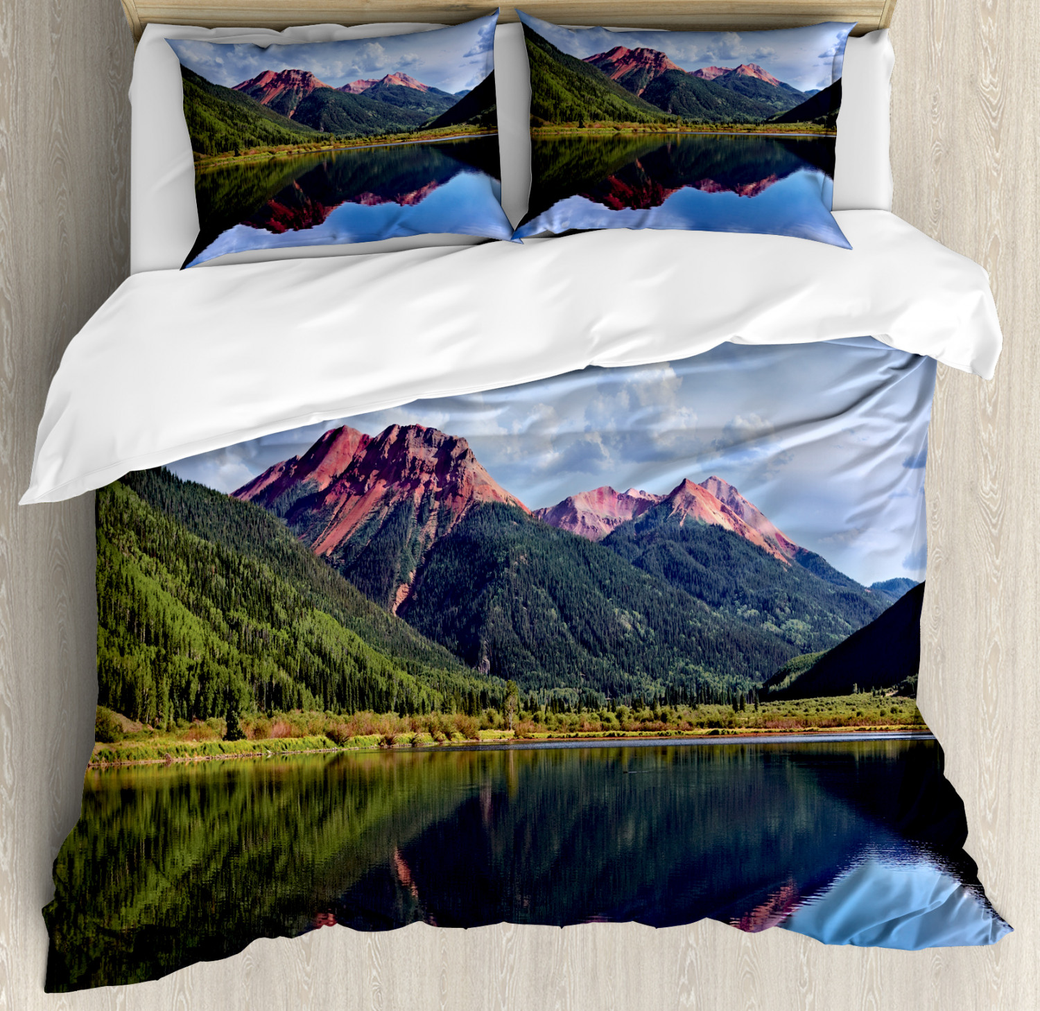 Nature Scene Duvet Cover Set Red Iron Peaks Over Calm