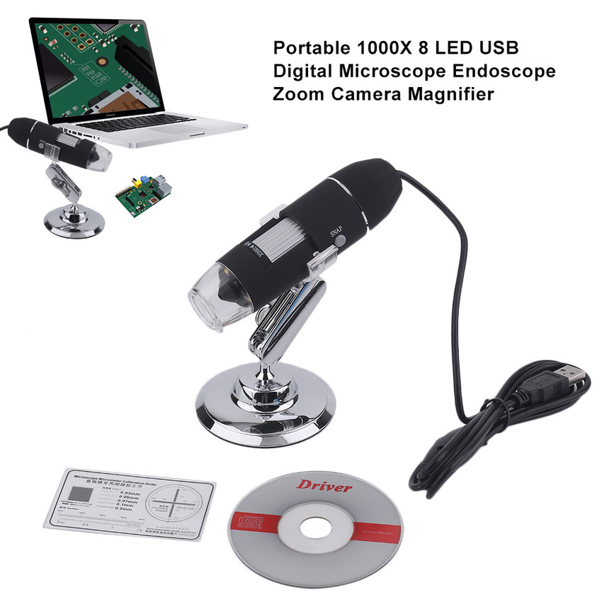 Portable 1000X 8 LED USB Digital Microscope Endoscope Zoom Camera Magnifier
