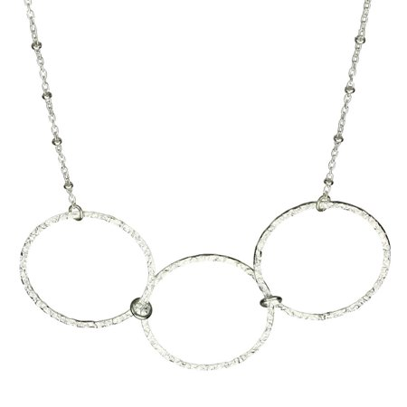 Sterling Silver Flat Hammered Circle Large Links Necklace (Italian Circle Link)
