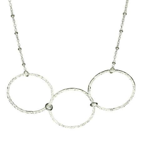 Sterling Silver Flat Hammered Circle Large Links Necklace - Hammered Oval Link