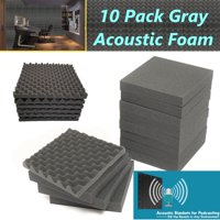 10 PK Acoustic Foam Gray Egg Crate Panel Wall Tile Audio Home Studio Deadening Soundproofing 12 x 12 x 1.4