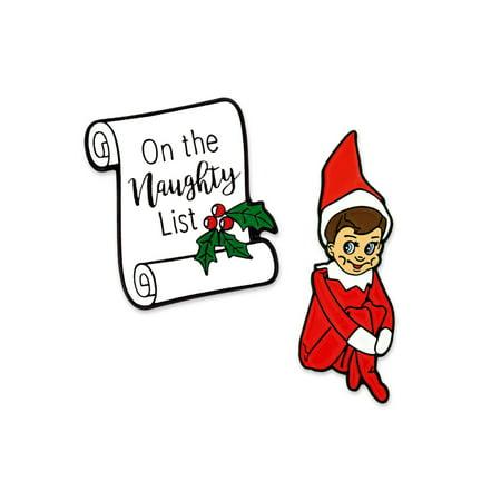 PinMart's Naughty Elf Funny Christmas Stocking Stuffer Enamel Lapel Pin Set