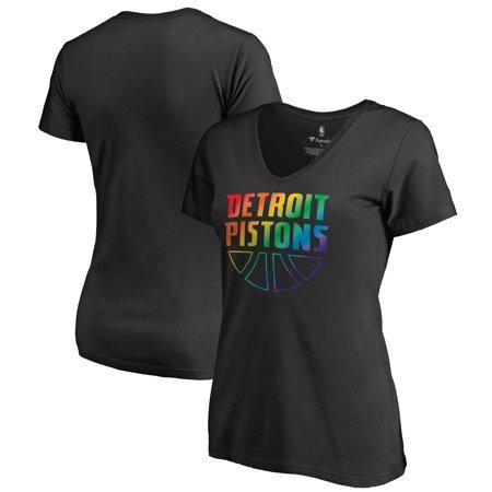 Detroit Pistons Fanatics Branded Women's Team Pride Wordmark V-Neck T-Shirt - Black Vintage Detroit Pistons