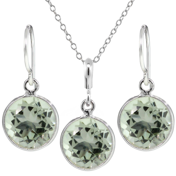 6.00 Ct Genuine Green Amethyst Sterling Silver Dangle Earrings Pendant Set 9mm