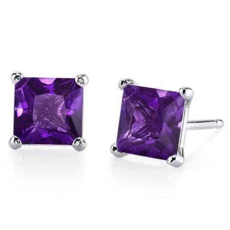 Peora 2.00 Ct T.G.W. Princess-Cut Amethyst 14K White Gold Stud Earrings Amethyst Hinged Hoop Earrings