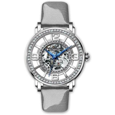 Stuhrling Original  Women's Automatic Skeleton Gray Leather Strap Watch
