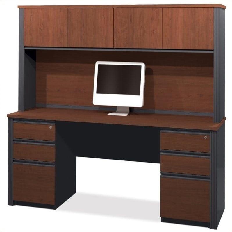Bestar Prestige + 4-Piece Desk with Assembled Pedestals in Bordeaux