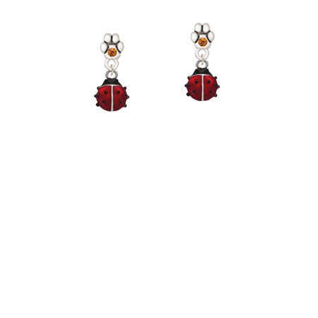 Mini Red Translucent Ladybug - Yellow Crystal Paw Earrings](Yellow Lady Bug)