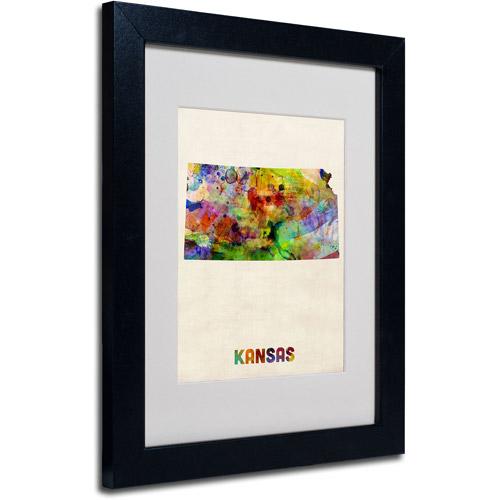 """Trademark Fine Art """"Kansas Map"""" Matted Framed Art by Michael Tompsett, Black Frame"""