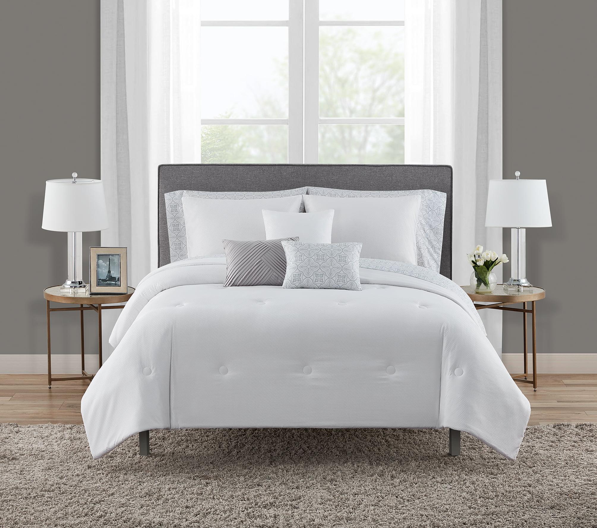 Mainstays White Puffy 10 Piece Bed In A Bag Bedding Set With Bonus Sheet Set Pillows Full Walmart Com Walmart Com