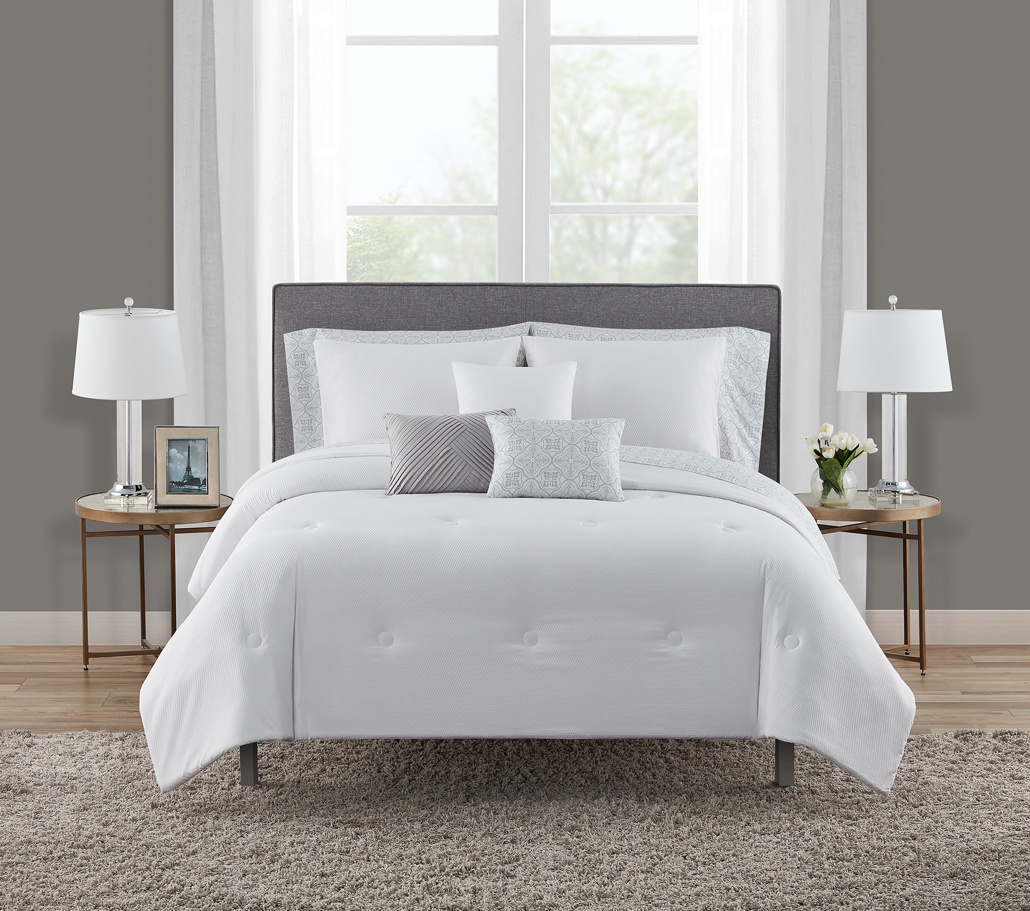 Queen Pillows Mainstays Gray Textured 10-Piece Bed-in-a-Bag Bedding Set