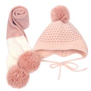 Cute Winter Baby Kids Warm Woolen Coif Hood Scarf Caps Hats Set PK