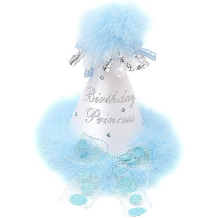 Girls White Light Blue Feathery Rolled Ribbon Birthday Princess Party Hat