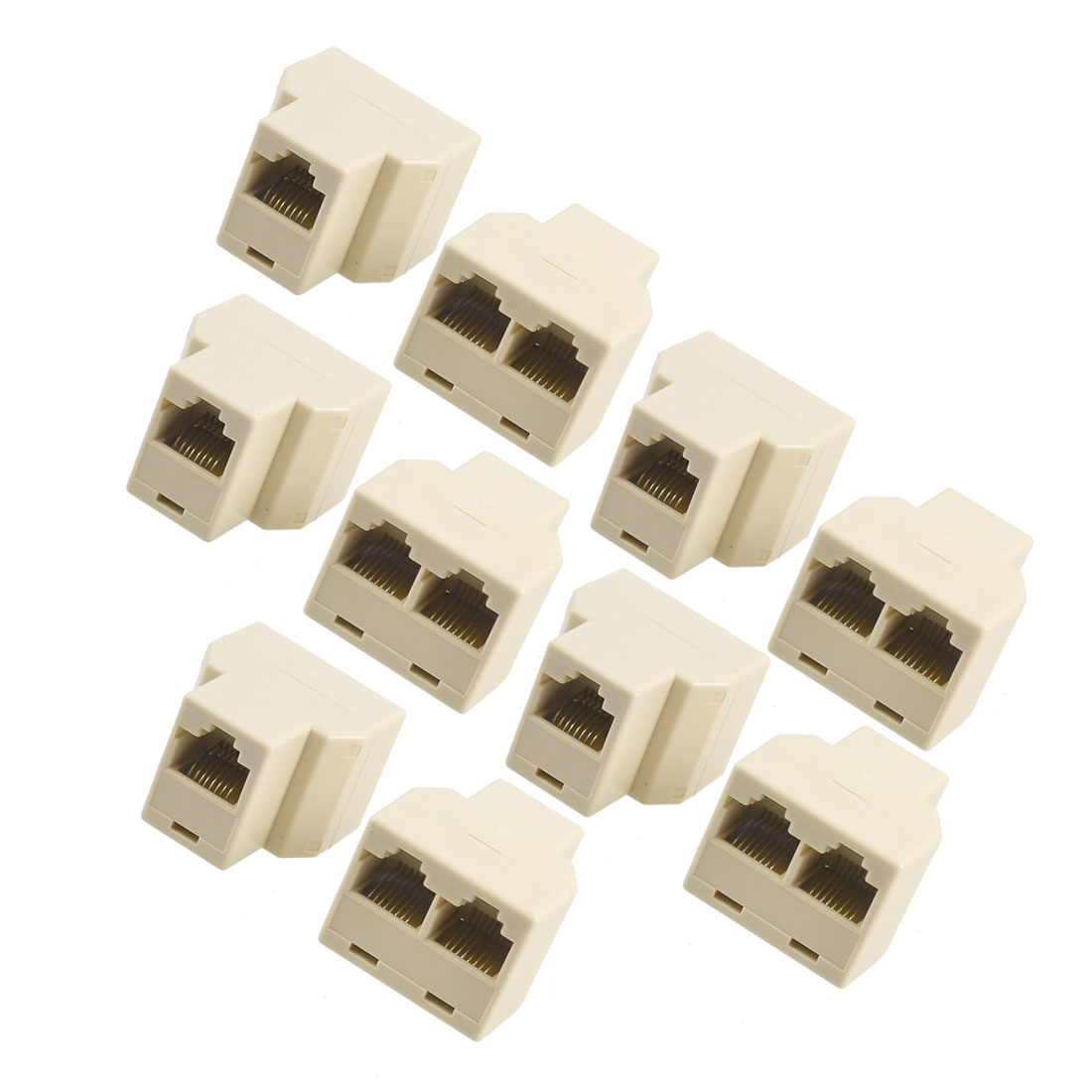 Unique Bargains 10 Pcs 3 Way RJ45 LAN Network Ethernet Splitter Connector Beige