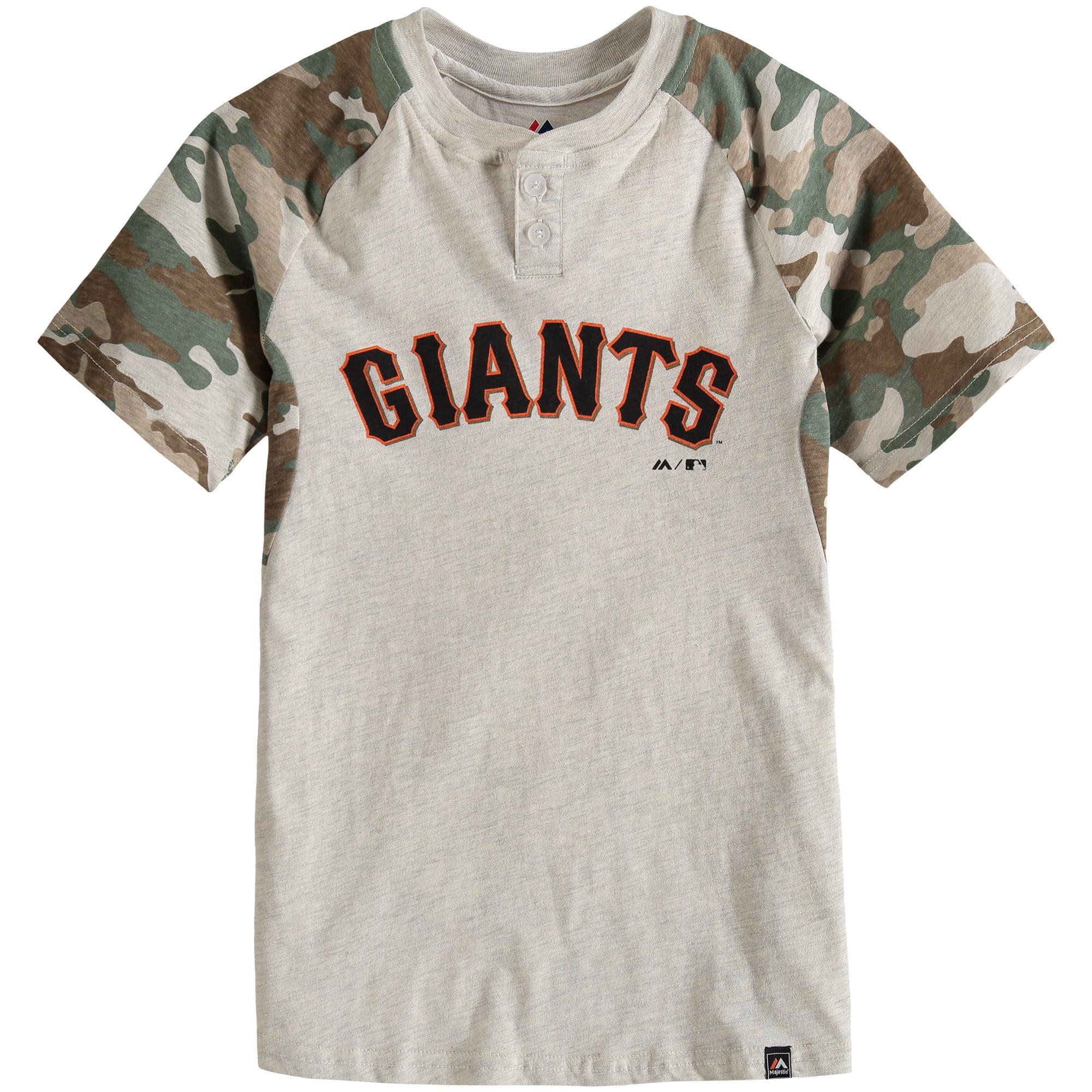 San Francisco Giants Majestic Youth Base Stealer Henley T-Shirt - Cream/Camo