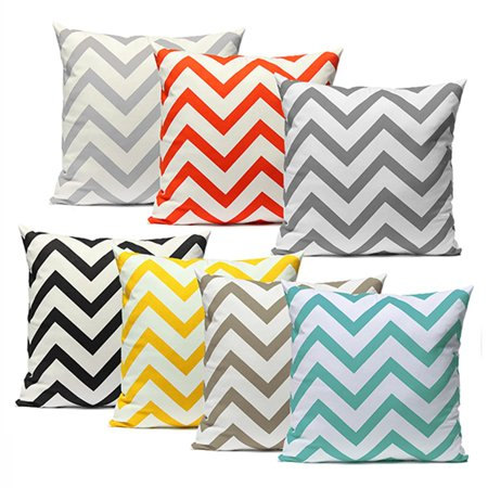 Ripple Chevron Zig Zag Wave Throw Pillow Cases Cushion Cover Durable Cotton Linen Fabric Vibrant Hidden Zipper Designs Pattern PillowCase for Living Room Sofa Couch Chair 18''x18'' ()