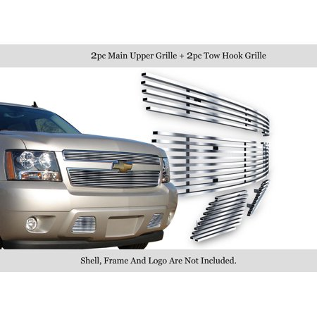304 Stainless Steel Billet Grille Grill Combo Compatible with 2007-2014 Chevy Suburban Avalanche N19-C91976C