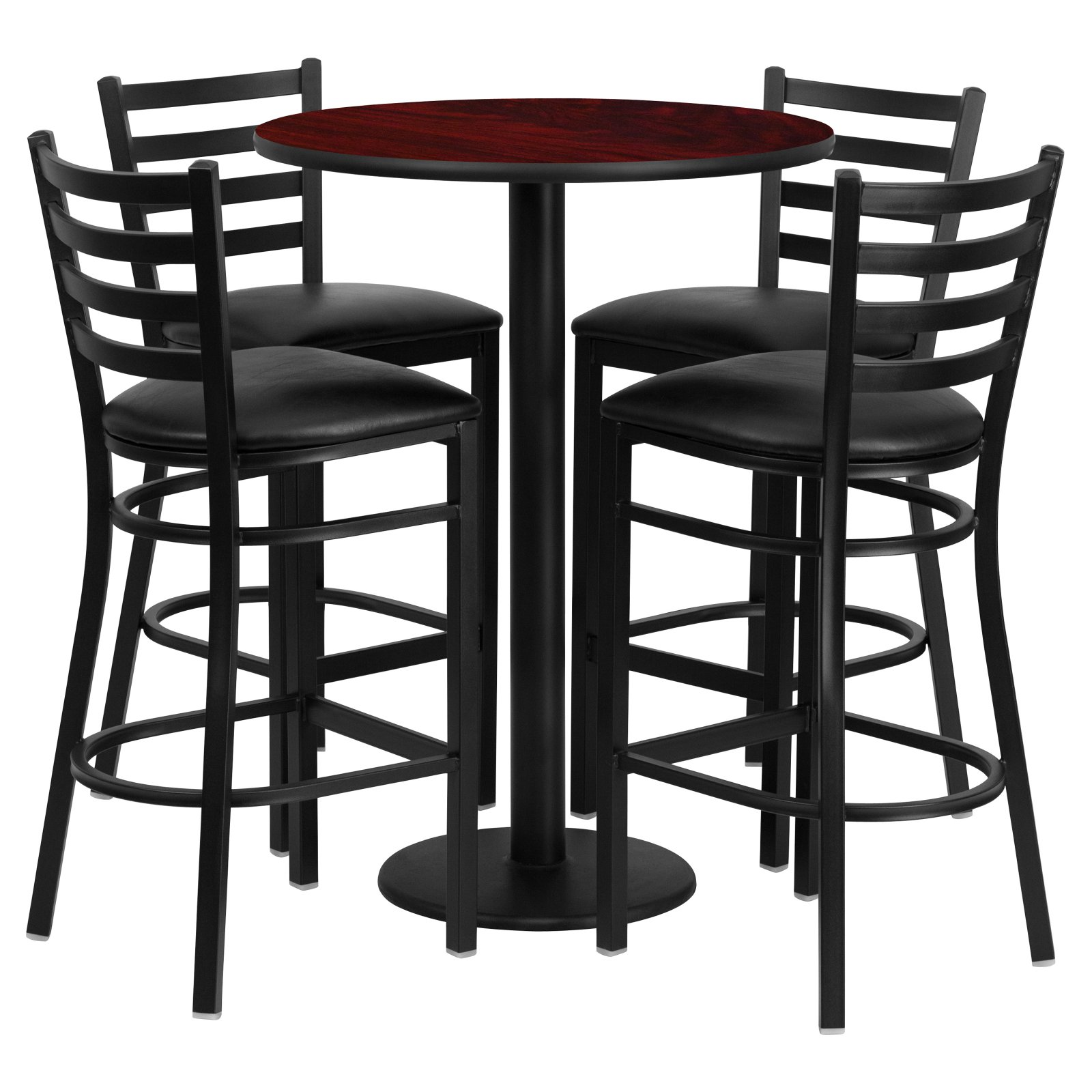 Flash Furniture 30'' Round Mahogany Laminate Table Set with 4 Ladder Back Metal Barstools, Black Vinyl Seat