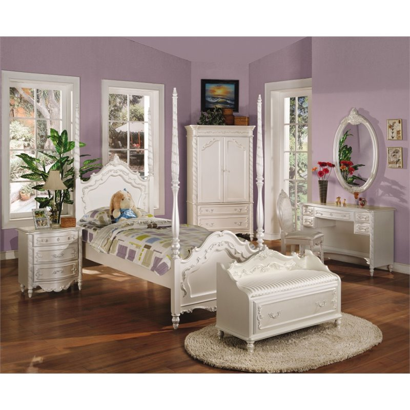 ACME Pearl Twin Poster Bed in Pearl White and Gold by Acme Furniture