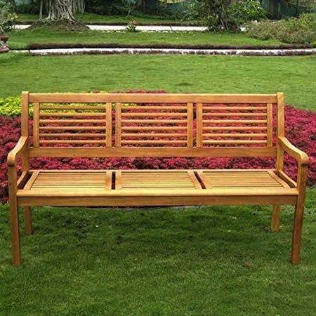 Enjoyable International Caravan Royal Tahiti Bar Harbor 3 Seater Wood Outdoor Park Bench Gamerscity Chair Design For Home Gamerscityorg