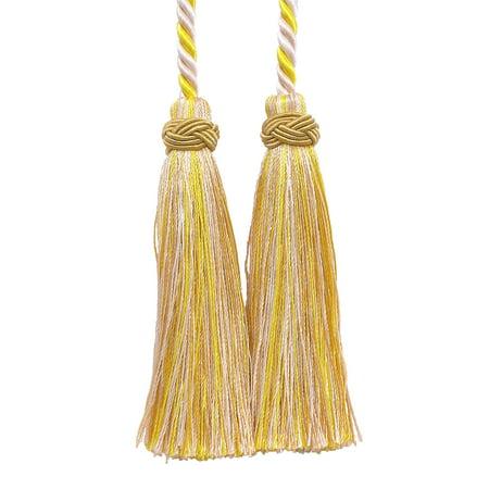 Double Tassel / Ivory, Yellow Gold / Tassel Tie with 4 inch Tassels, 26