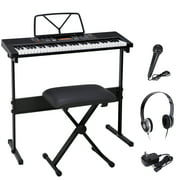 61-Key Portable Electronic Piano LED Display Keyboard Kit with Adjustable Stand, Stool, Headphones, Microphone & Music Stand