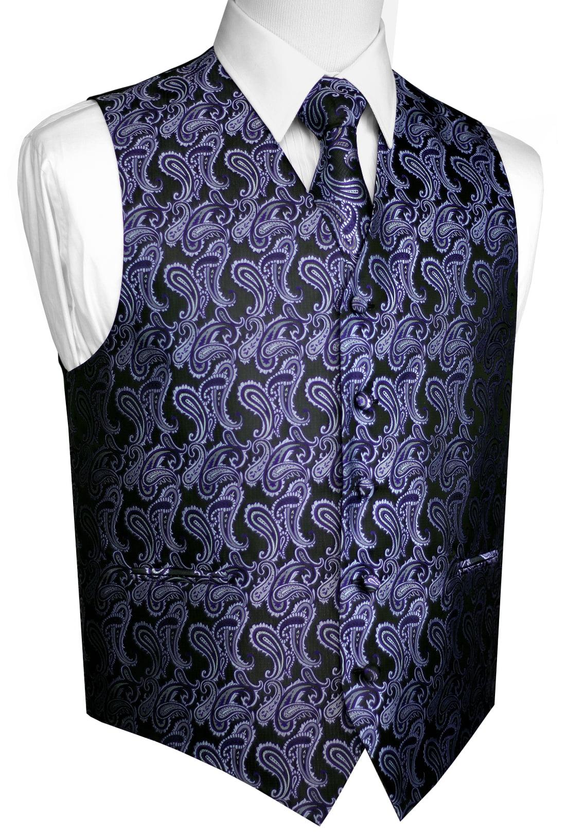 Italian Design, Men's Tuxedo Vest, Tie & Hankie Set - Purple Paisley